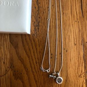 Authentic Pandora necklace with locket & bow charm